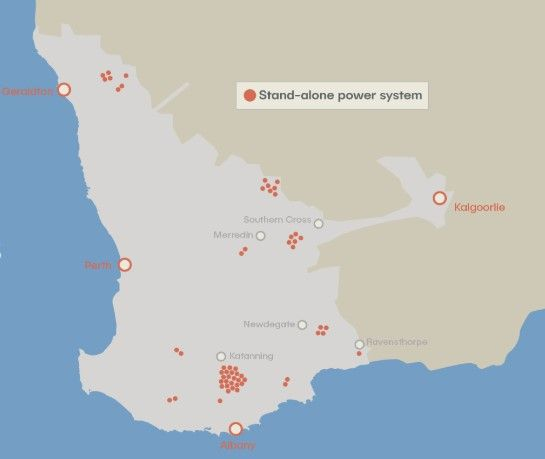 Standalone power system locations across Western Power's network