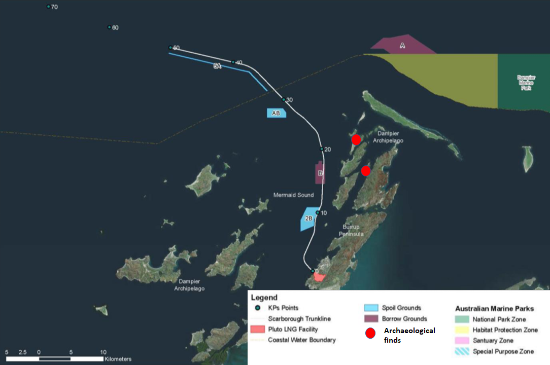 Scarborough pipeline route and location of ancient Aboriginal artefacts