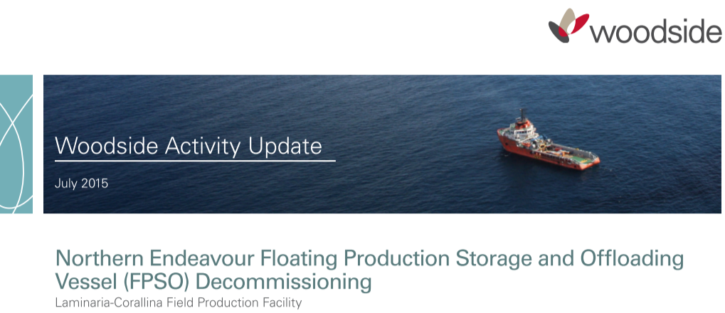 Woodside publicised decommissioning plans in July 2015 and agreed to sell two months later