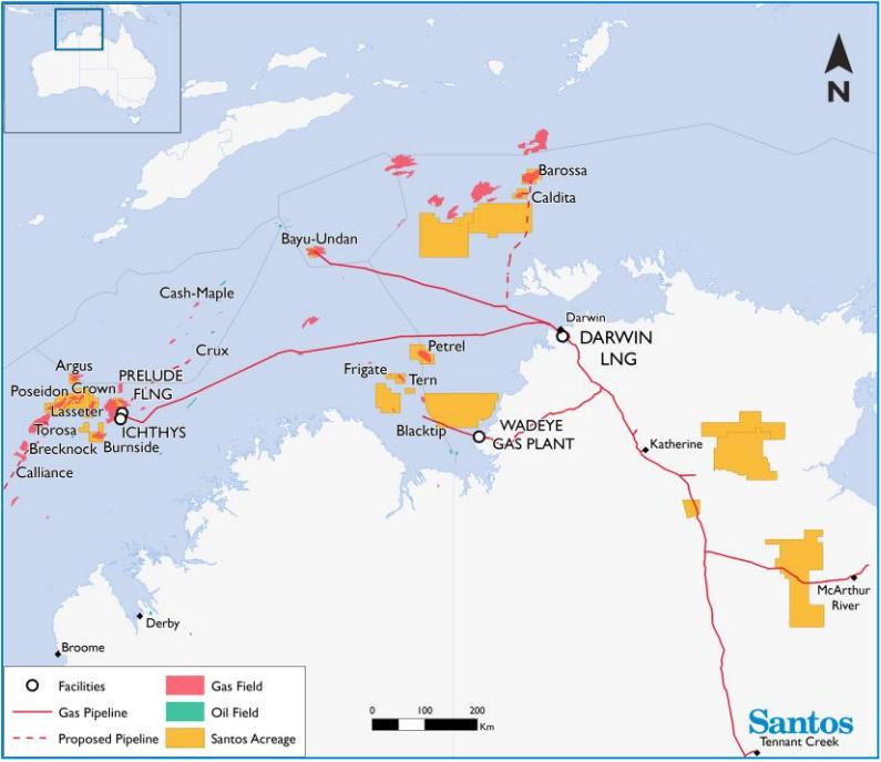 Santos map of gas fileds off northern Australia includiing Barossa, Bayu Undan, Prelude, Ichthys and Blacktip.