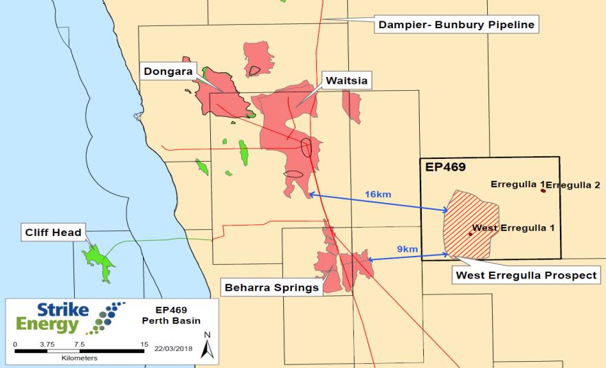 map of Perth Basin gas fields: Waitsia, Beharra Springs, West Erregulla