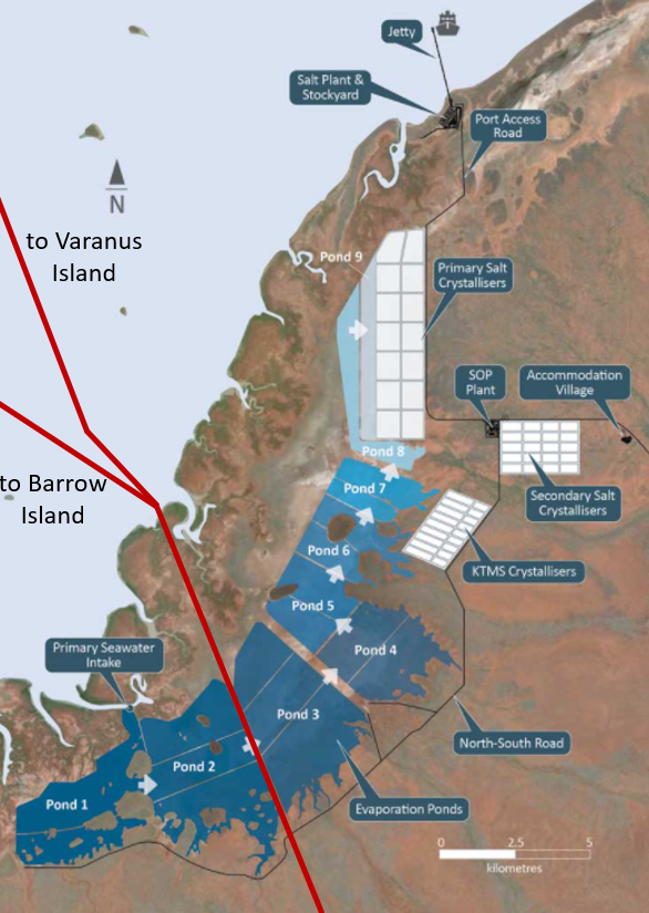 Map of the Gorgon gas pipeline from Barrow Island and pipelines from Varanus Island running through the proposed Mardie Salt project in North West Western Australia.