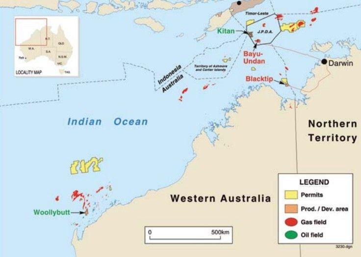 ENI's Australian operations as at 2015 including Woollybutt, Blacktip, and Bayu Undan.