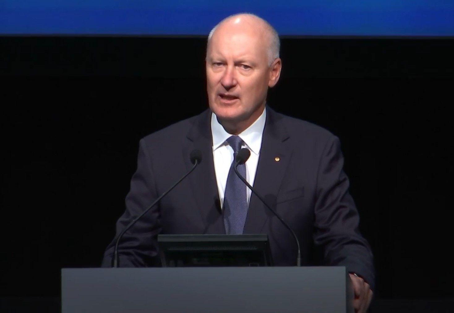 Woodside chair Richard Goyder addresses the 2021 AGM.