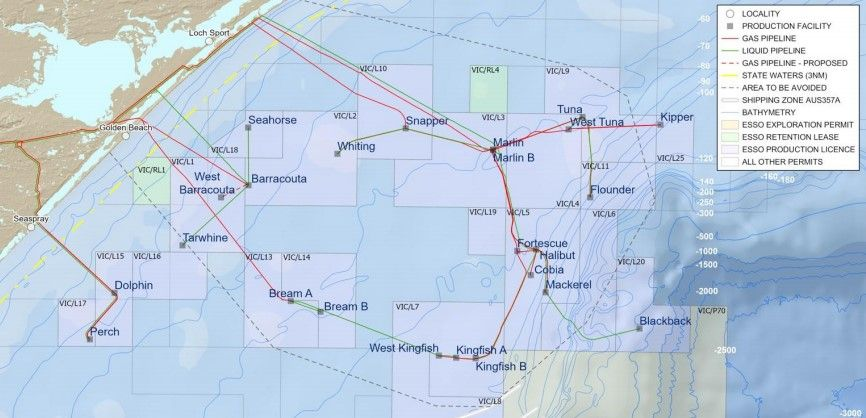 map of ExxonMobil's Bass Strait offshore oil and gas facilities