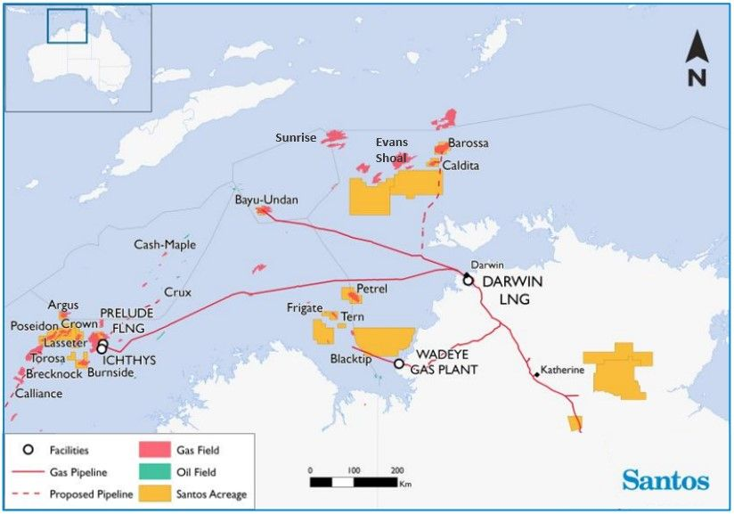 Santos map of gas fileds off northern Australia includiing Barossa, Bayu Undan, Prelude, Ichthys, Sunrise and Evans Shoal and Blacktip.