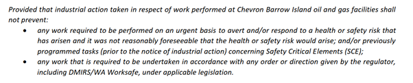 Safety provision of the Protected Action Ballot Order. Source: UGL memo to workers May 15