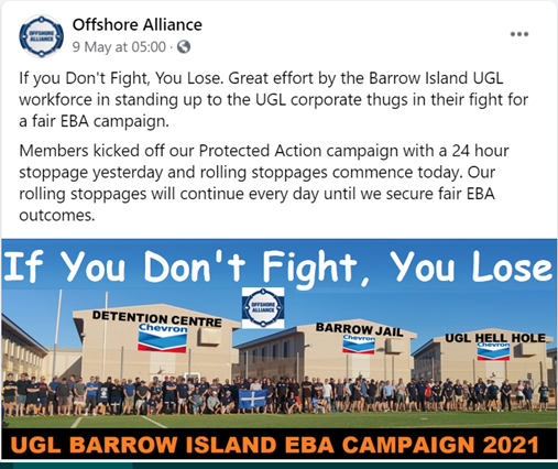 Offshore Alliance celebrates the one-day strike. Source: Offshore Alliance Facebook page.