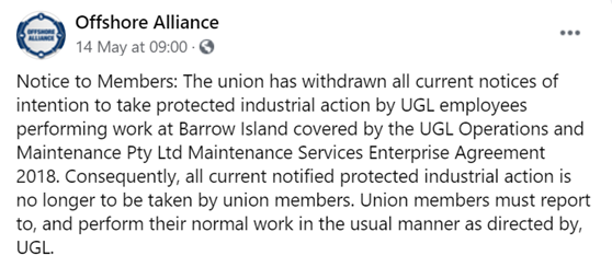 Court-mandated Facebook post. Source Offshore Alliance Facebook page.