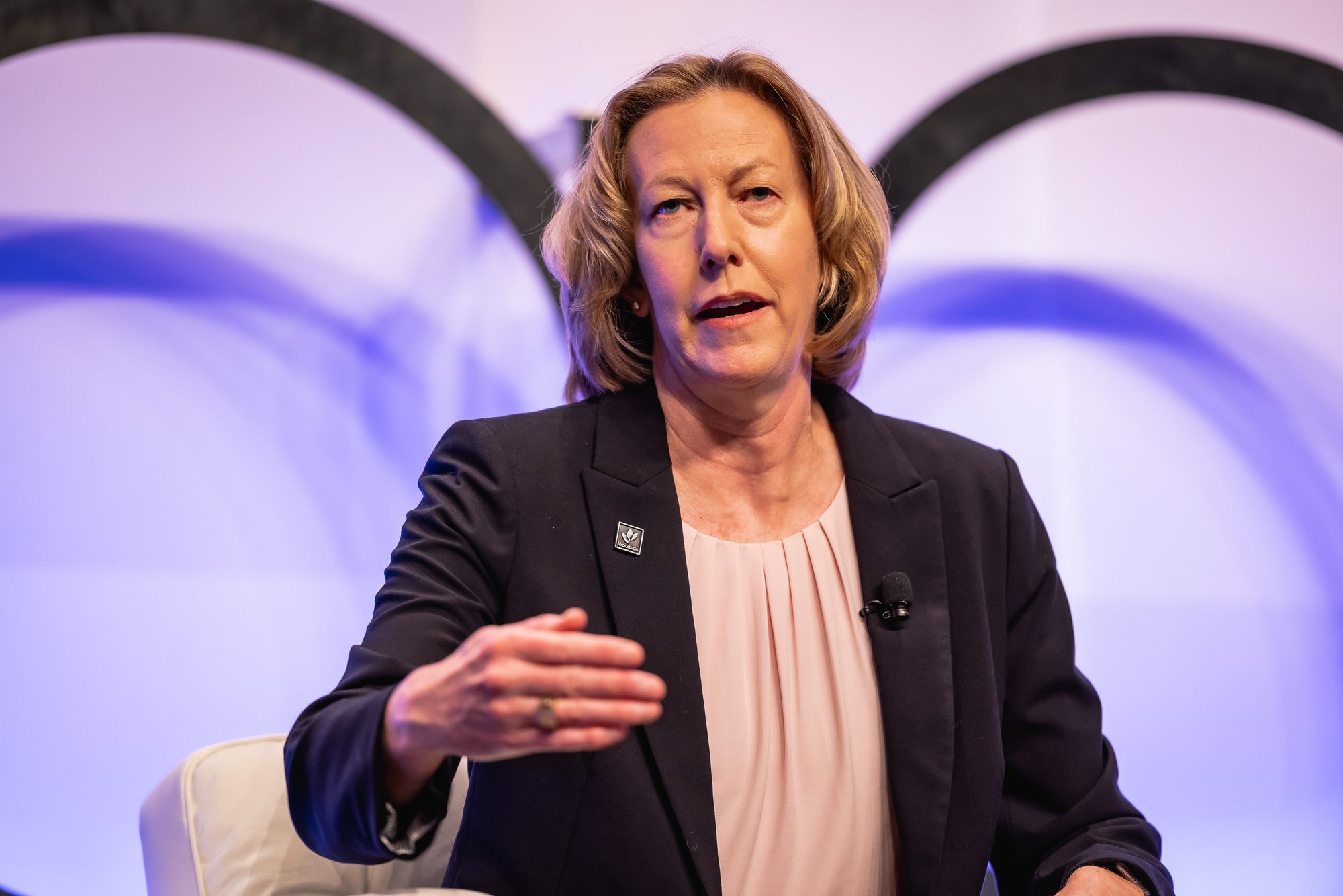 Woodside acting chief executive Meg O'Neill speaking at the APPEA Conference this week