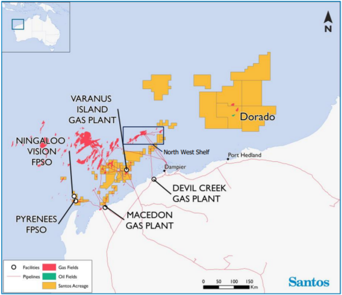 Map of Santos' interests offshore Western Australia including the Macedon, Devel Creek and Varanus Island gas plants, Ningaloo Vision and Pyrenees Venturer oil FPSO's and the Dorodo prospect.