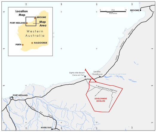 A map of the location of the Asian Renewable Energy Hub between Port Hedland and Broome in the Pilbara region of Western Australia, inland of Eighty Mile Beach.