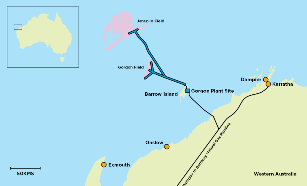 Map showing the Gorgon and Jansz-Io gas fields off north west Australia connected to Chevron's Gorogn LNG plant by subsea pipelines.