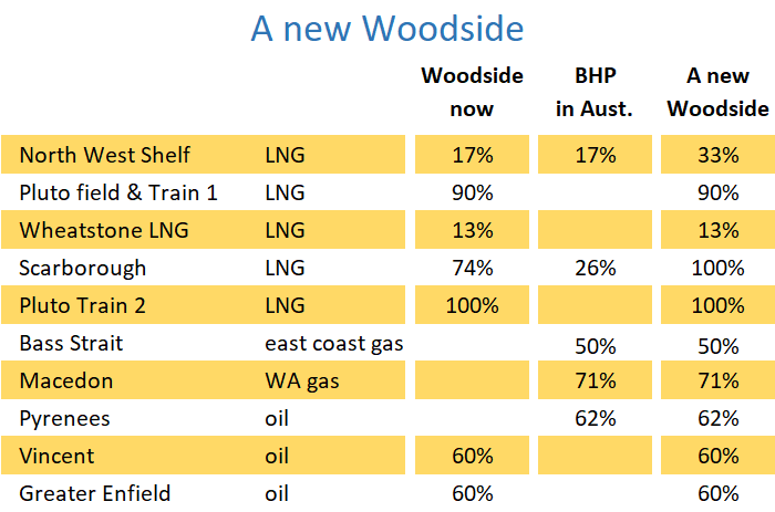 Table of Woodside and BHP Petroleum Australian assets including North West Shelf, Pluto, Scarborough and the Bass Strait