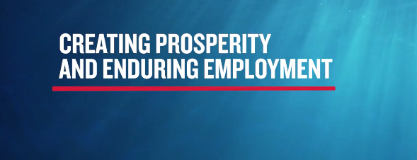 """Screenshot of a June Woodside advertising video: """"Part of a better future"""" with text """"creating prosperity and enduring employment."""""""