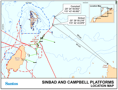 map of the location of the Sinbad and Campbell oil platforms off the coast of Western Australia