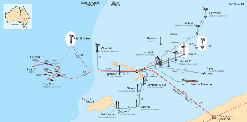 Map of Santos facilities near Varanus Island off the WA coast.
